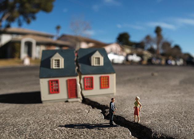 Разделенный дом, муж и жена